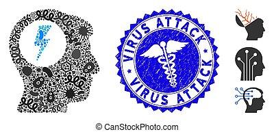 choque, elétrico, colagem, ataque, pathogen, vírus, selo, cérebro, grunge, caduceus, ícone