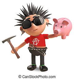 choque, punk, banco, financially, mecedora, desafiado, sobre, el suyo, cerdito, ilustración, 3d