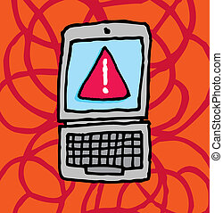 choque, sistema, /, fracasso, computador, mensagem erro