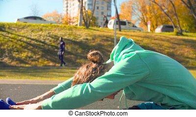 chorégraphie, dos, jeune, sports, field., exercices, flexible, homme