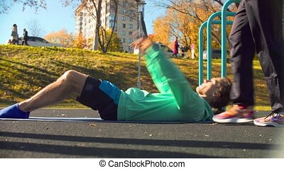 chorégraphie, jeune, sports, field., exercices, flexible, homme
