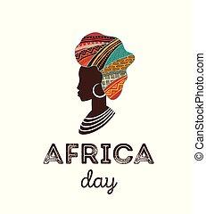chorągiew, afisz, afryka, day., wektor, karta, szczęśliwy