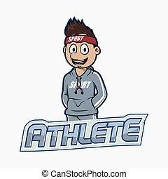 chorągiew, atleta, projektować, ilustracja