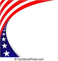 chorągiew, dekoracyjny, święto, amerykanka, frame., bandera, brzeg