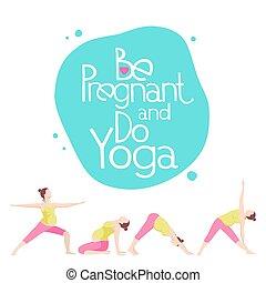 chorągiew, dla, reklama, brzemienny, yoga.