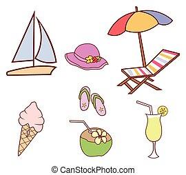 chorągiew, doodle, koło, lato