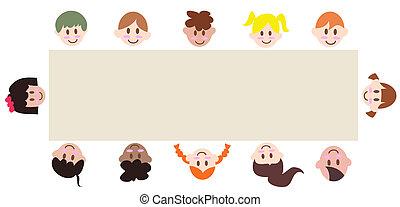 chorągiew, dookoła, dzieci, czysty, multicultural