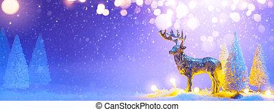 chorągiew, drzewo, albo, renifer, powitanie, boże narodzenie, santas, background;, śnieżny, ozdoba, karta