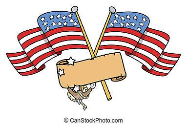 chorągiew, krzyżowany, amerykańskie bandery