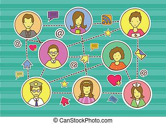 chorągiew, ludzie, towarzyski, media