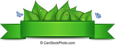 chorągiew, natura, zielony