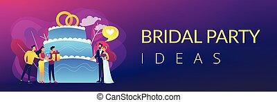 chorągiew, partia, pojęcie, header., ślub