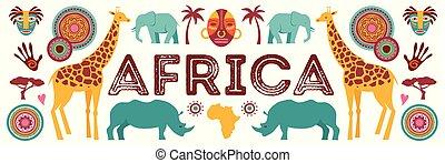 chorągiew, plemienny, afryka, zwierzęta, ilustracja, symbolika, wektor, safari