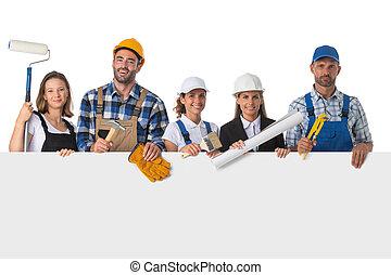 chorągiew, pracownicy, przemysłowy, grupa