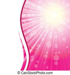 chorągiew, różowy, światło słoneczne