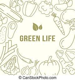 chorągiew, szablon, z, organiczny, vegetables.