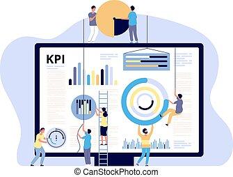 chorągiew, wektor, handel, kampania, handlowy, klucz, cyfrowy, produkt, mierniczy, concept., spełnienie, indykator, kpi, metric., handel, reports.