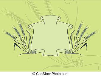 chorągiew, wektor, pszenica, zielony