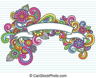 chorągiew, wstążka, ułożyć, wektor, doodles