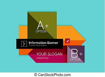 chorągiewna farba, płaski, options., wektor, infographics, abstrakcyjny, diagram, informacja, szablon, projektować, krok