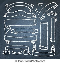chorągwie, chalkboard, zbiór