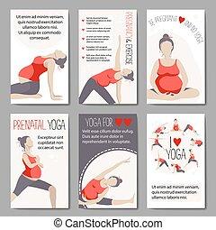 chorągwie, dla, reklama, brzemienny, yoga.