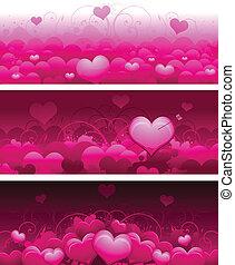 chorągwie, dzień, valentine