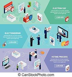 chorągwie, głosowanie, isometric, wybory