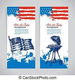 chorągwie, od, 4 lipca, tła, z, amerykanka, flag., dzień niezależności, ręka, pociągnięty, rys, projektować