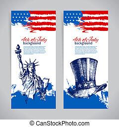 chorągwie, od, 4 lipca, tła, z, amerykanka, flag., dzień niezależności, rocznik wina, ręka, pociągnięty, projektować