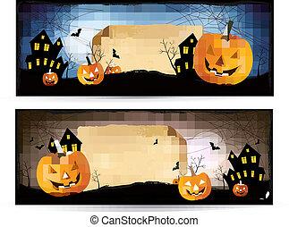 chorągwie, wektor, halloween, dwa