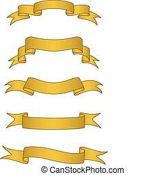 chorągwie, wektor, woluta, złoty