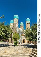 Chor Minor, Four Minarets Madrasah in Bukhara, Uzbekistan.