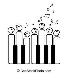 chor, schlüssel, klavier