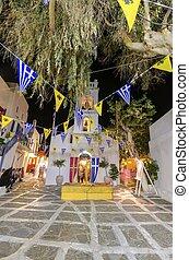 Chora at easter, Mykonos, Greece