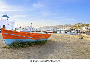 Chora port, Mykonos, Greece - Colourful fishing and sail...