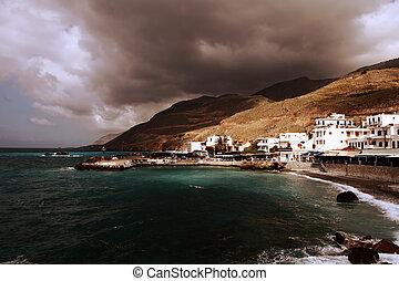 Chora Sfakion under a stormy sky