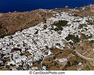 Chora village, Patmos, Greece, aerial view
