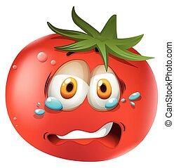 chorando, cara, tomate
