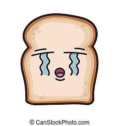 chorando, fatia, caricatura, pão, ilustração