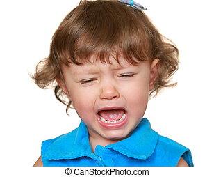 chorando, infeliz, criança, com, aberta, boca, isolado,...