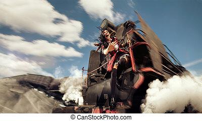 chorando, mulher, é, segurar, a, derailment, locomotive.