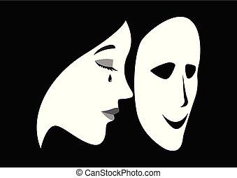 chorando, mulher, com, um, smilling, máscara, frente, dela, rosto