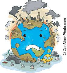 chorando, terra, devido, para, poluição