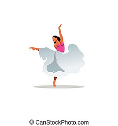 Choreography sign. Young beautiful dancer girl in dress. ...