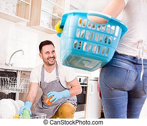 chores, женщина, вместе, человек