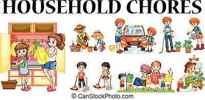 chores, differente, membri famiglia