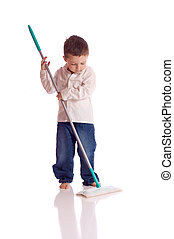 Chores - Little boy with a broom