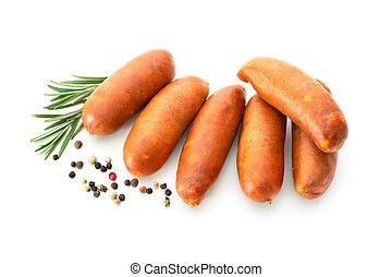 Chorizo sausages isolated on white background