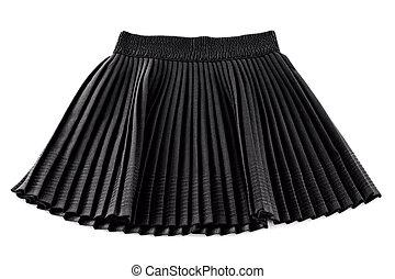 chorna, invenção, plissado, saia curta, mulher